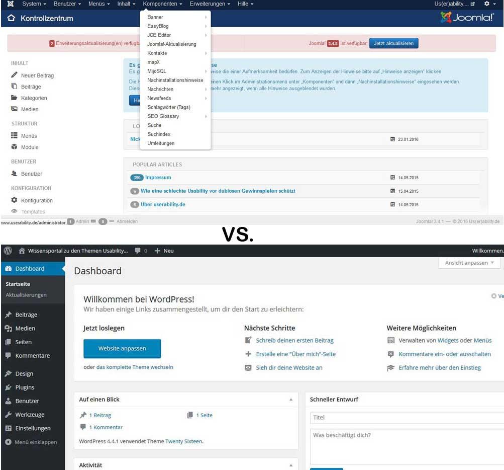 Joomla- und WordPress-Backend im Vergleich. Wo findet man sich schneller zurecht?
