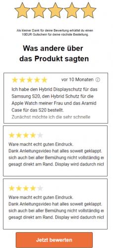 Beispiel-Mail Produkt-Bewertungsmail mit Bewertungen